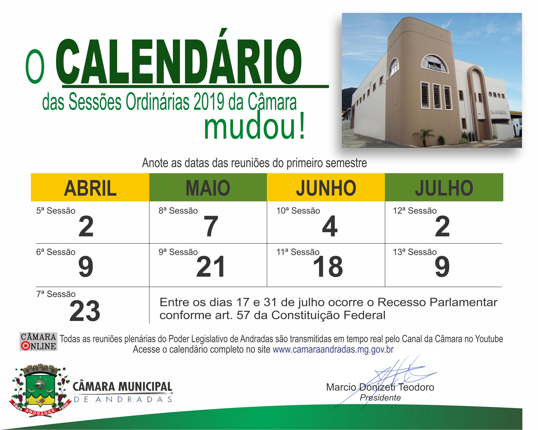Calendário de 2019