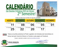 Calendário segundo semestre