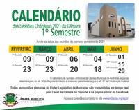 Calendário de reuniões ordinárias de 2021