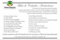Câmara realiza Sessão Solene de entrega de Título de Cidadão Andradense