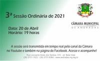 PAUTA DA 3.ª SESSÃO ORDINÁRIA DE 20 DE ABRIL DE 2021
