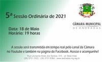 PAUTA DA 5.ª SESSÃO ORDINÁRIA