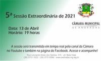 Pauta da 5ª Sessão Extraordinária de 2021